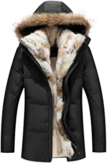 Warm White Duck Feather Coat Long Winter Jacket Down Parka Plus Rabbit Hair Hooded Outerwear