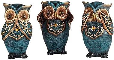 Mixiflor Owl Statue Décor Figurines Set 6 Inch, Owl Statue Home Decor Colorful Collectible Figurine Statue | Animal Decoratio