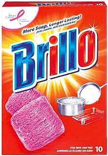 ブリロ(Brillo) スチールウールたわし 油汚れ&焦げ落とし 10個入 (オリジナル) [並行輸入品]