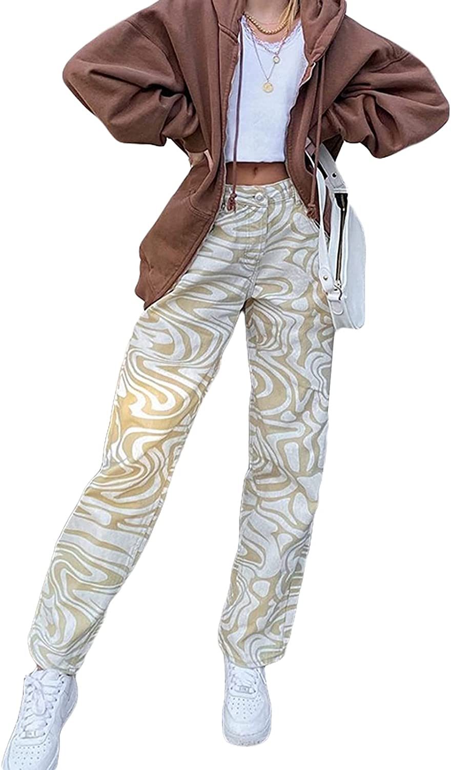 Straight Leg Trousers for Branded goods Women High Oakland Mall Print Pants Fashion Waisted