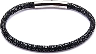 INOX Men's Black Stingray Leather Bracelet with Magnetic Clasp. 8.5 inch Long