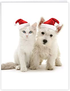 The Best Card Company - Jumbo Animal Card for Christmas (8.5 x 11 Inch) - Adorable Cat and Dog Notecard, Group Card for Ki...