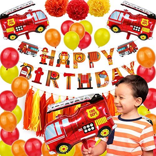Kinderballons 55Pcs Kinder Folienballon, Bau Thema Party Liefert Mit Alles Gute Zum Geburtstag Banner Latexfolie Luftballons Buntes Papier Pom Poms Seidenpapier Quaste Für Kinder Geburtstagsfeier