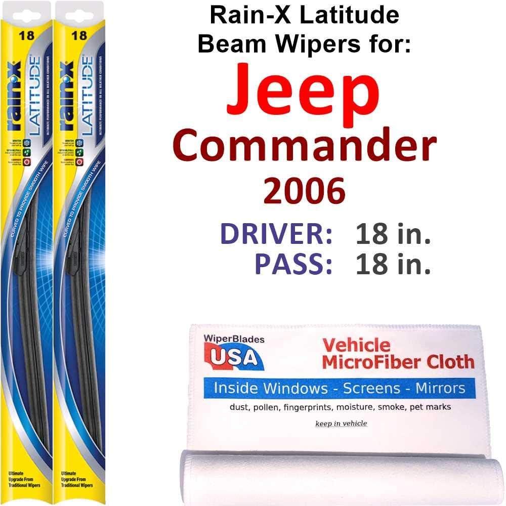 Rain-X Latitude Beam 100% quality warranty! Wiper Blades for Set Jeep Las Vegas Mall 2006 Commander Ra