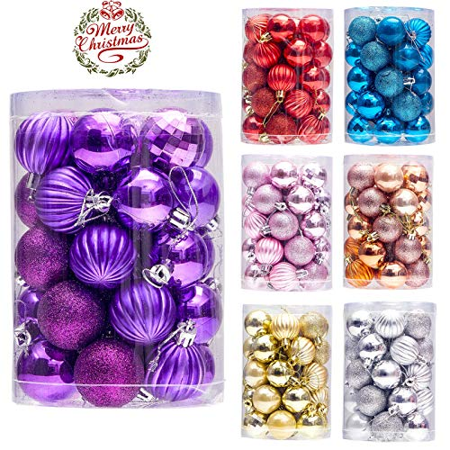 """34ct Small Christmas Ball Ornaments Shatterproof Christmas Hanging Tree Decorative Balls for Party Holiday Wedding Decor Purple, 1.57"""",40mm"""