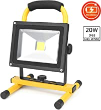 D&F 20W LED Work Light, IP65 Waterproof Outdoor Portable LED Flood Lights with Built-in Rechargeable Battery for Camping Hiking Emergency Car Repairing and Job Site Lighting