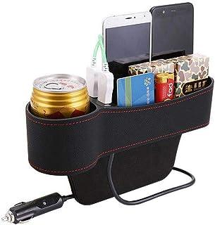 Homyl Bolsos para assento de carro de couro de poliuretano, organizador lateral, recipiente organizador com 2 portas USB p...