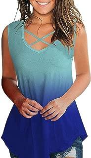 Keepmove Women's Loose Blouse Criss Cross V Neck Sleeveless Casual Summer T-Shirt Tank Tops