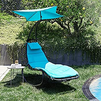 BELLEZE Outdoor Hanging Chaise Lounge Chair Swing Curved Cushion Seat Hammock with Canopy Sun Shade Blue