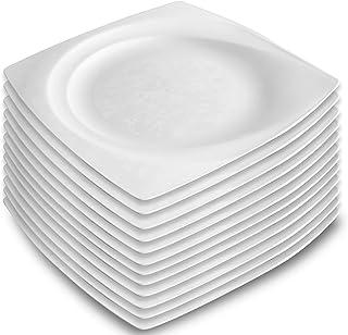 Garnet 9021 Assiette carrée dure. Rigide et réutilisable - Passe au lave-vaisselle - Blanc - Fabriquée en Italie - 12 pièc...