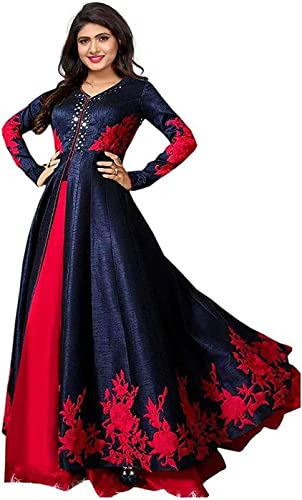 Women S Georgette Heavy Embroidered Semi Stitched Anarkali Gown
