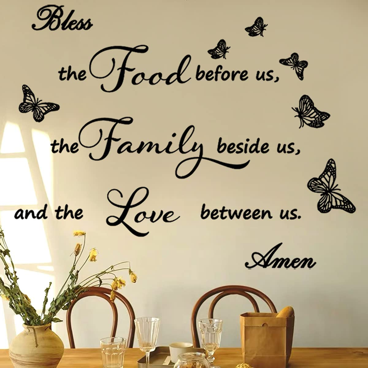 Wall Sticker Family Love Positive Quote Bless This Food Before Us The Family Beside Us and The Love Between Us Wall Decals for Living Room Kitchen Dining Room Prayer Wall Decor.
