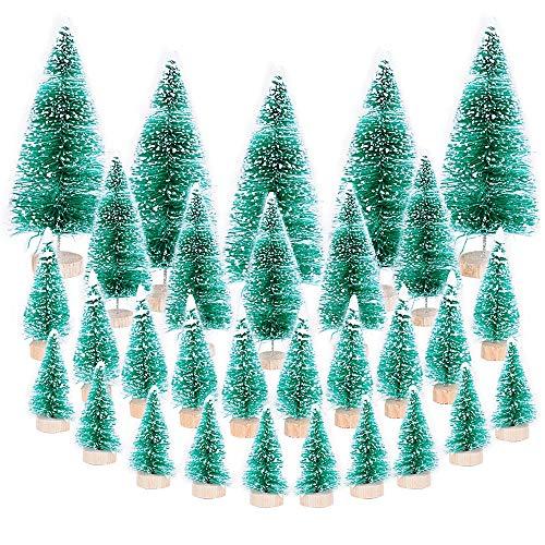 30pz Mini Albero di Natale Artificiale Finte Piccolo Alberelli Regalo Decorazione Fai da Te Natalizie Tavolo Casa Cucina Festa (10pz 4.5cm, 10pz 6.5cm, 5pz 8.5cm, 5pz 12.5cm)