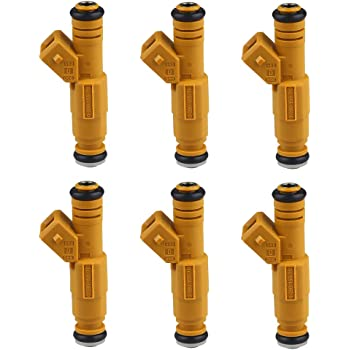 ECCPP Fuel Injectors 6pcs 4 Hole 0280155700 Fuel Injector Kits fit 1989-1998 Jeep Cherokee 1987-1992 Jeep Comanche 1993-1998 Jeep Grand Cherokee 1991-1998 Jeep Wrangler 4.0L,Yellow