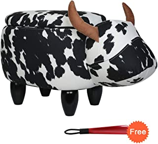 Animal Ottoman Upholstered Ride-On Ottoman Leather Footrest Stool,Changing Shoes,Animal Shape Toys,Home Decoration Children's Toys Gift Cartoon Cattle Animal Stool,With Storage (Black&White Cow)