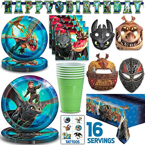 Purchase How To Train Your Dragon Party Supplies for 16 - Large Plates, Dessert Plates, Napkins, Mas...