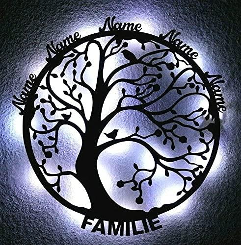 XXL - Lebensbaum Familie - ich liebe meine Familie - Lasergravur - Geschenke - Deko Wand - led - holz baum bis 10 Namen [Energieklasse A]
