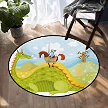 Fantasy Rugs for Sale Knight Don Quixote with Horse on Dragon Valley Medieval Fairytale Image Living Room Bedroom Carpets D54 Inch