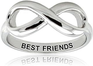 Plata Esterlina Best Friends (Mejores Amigos) Anillo Infinito Banda