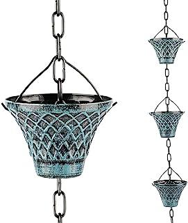 Hanayard Downspouts Rain Chain Decorative Gutter Outdoor Blue Plaid Garden Decor, 8.5 FT