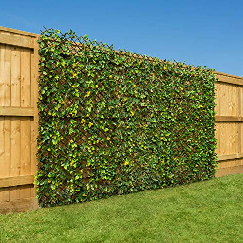 CHRISTOW Artificial Hedge Flower Garden Screening Expanding Trellis Privacy Screen 2 x 1m