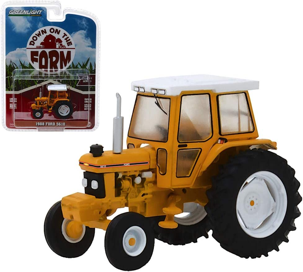 1988 Ford 5610 Tractor Yellow and White with Enclosed Cab Down on The Farm Series 1 1/64 Diecast Model by Greenlight 48010 D