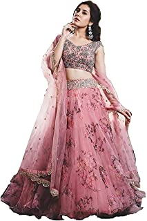 Yazu Lifestyle Women's Net Digital Printed Embroidered Lehenga with Blouse (Pink, Free Size)