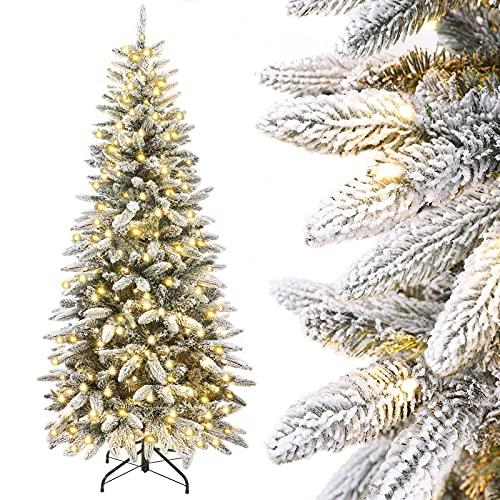 Yorbay Árbol de Navidad Artificial, Slim Estrecho, con Luces Led y Copos...
