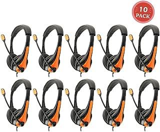 Avid AE-36 Orange On-Ear Stereo Headphones with Boom Microphone (10-Pack)