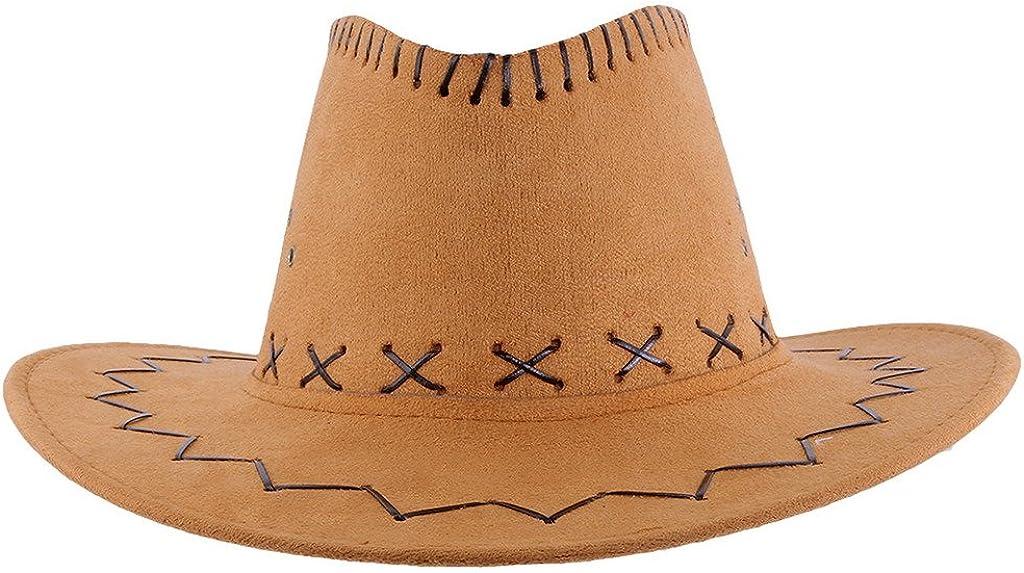 Bigood Enfant Adulte Chapeau Western Cowboy Soleil Unisexe R/étro Large Bord