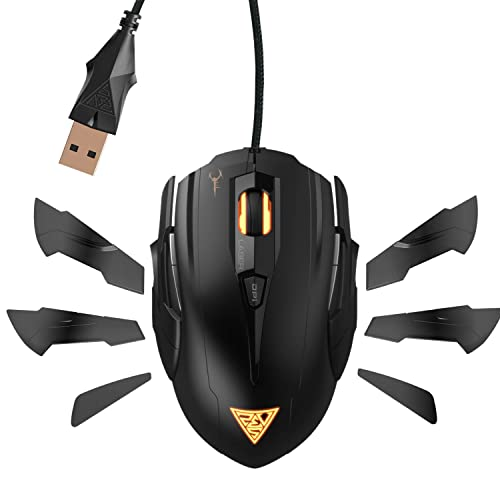 GAMDIAS Hades GMS7011 Laser FPS Gaming Mouse 3 Set Ambidextrous Adjustable Side Panels 7 Programmable Buttons