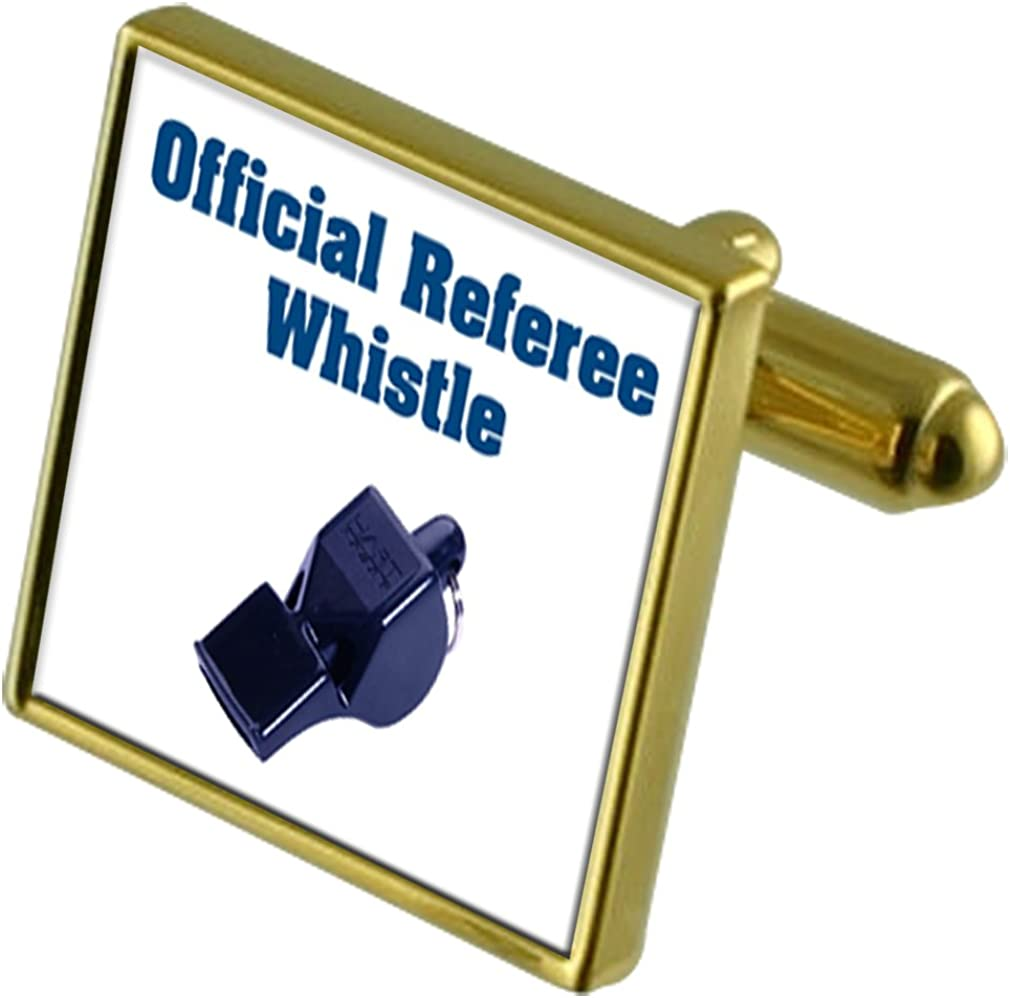 Select Gifts Finally resale start free Referee Whistle in Cufflinks Gold-Tone Pouch