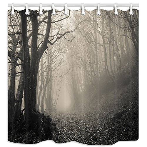 KOTOM Gothic Decor Shower Curtain, Scary Haunted Forest with Thick Mysterious Fog, Polyester Fabric Bath Curtains with Hooks 69W X 70L inches