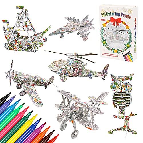 O-Kinee Puzzle da Colorare 3D, Gioco Puzzle di Pittura 3D, Puzzle da Colorare, Regalo Art And Craft Set, Colorare Arte Puzzle 3D per Ragazzi e Ragazze dai 6 Ai 12 Anni