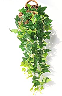 JUSTOYOU Artificial Hanging Plants Ivy Vine Fake Leaves Greeny Chain Wall Home Room Garden Wedding Garland Outside Decoration 3FT 1PCS (Ivy Leaves)