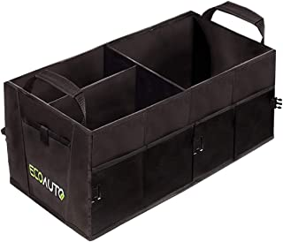 EcoAuto Car Trunk Organizer for SUV, Truck, Minivan & Auto – Foldable & Collapsible Cargo Trunk Storage Box with Straps, Compartments & Multiple Pockets – Space Saving Backseat Storage Basket