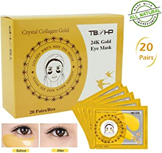 TBPHP Máscara de ojo de colágeno en polvo dorado (20 pares)24K Máscara para ojos de colágenoAnti-envejecimiento Máscara...
