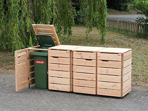 binnen-markt 4er Mülltonnenbox/Mülltonnenverkleidung 120 L Holz, Douglasie Natur