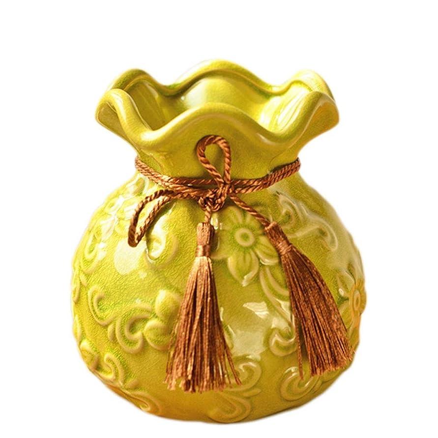 実行する母音ピアシックな花瓶 AXZHセラミック小さな花瓶、フラワーアレンジメント、磁器の花瓶、モダンな家の装飾工芸品、パーソナライズされた黄色の花瓶 写真シックな花瓶シリンダー花瓶、装飾用花瓶