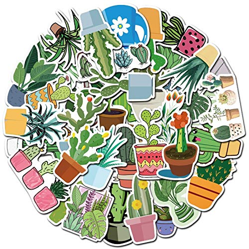 PMSMT 30/10/50 pçs Bonito Dos desenhos Animados Verde Planta Cactus Cuaderno computador en Maceta Graffiti Etiqueta decoração à Prova dwholesale água por atacado