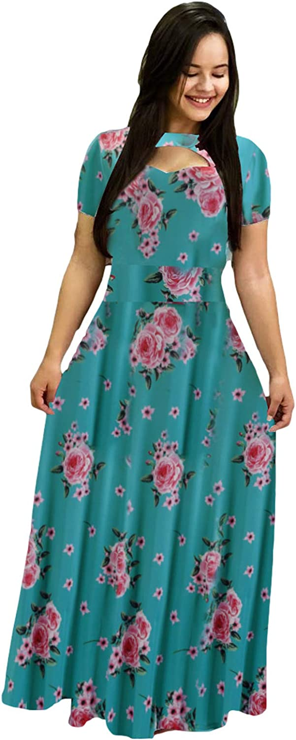 Womens Casual Dresses Plus Size Maxi Floral Dress Ranking ! Super beauty product restock quality top! TOP9 Neck Printed V