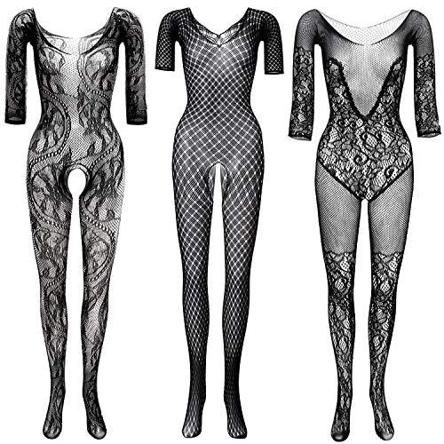 GVIANCXI 3 Pack Damen Reizvoller Jumpsuit,Mesh Dessous Set Fischnetz Babydoll Mini Kleid Bodysuit Nachtwäsche Unterwäsche