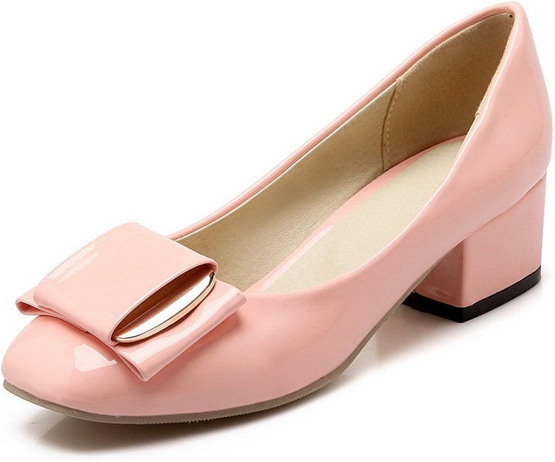 AmoonyFashion Women's Low-Heels Round-Toe Soild Microfiber Pumps-shoes