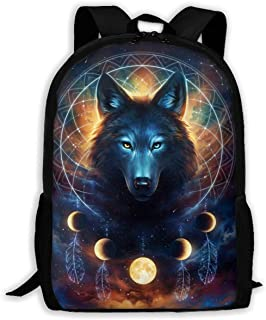 Computer Business Backpacks for Women Men College School Student Gift, Galaxy Space Dream Catcher Wolf Bookbag Casual Hiking Daypack, Ideal for Work, Travel, School, College, School, and Commuting