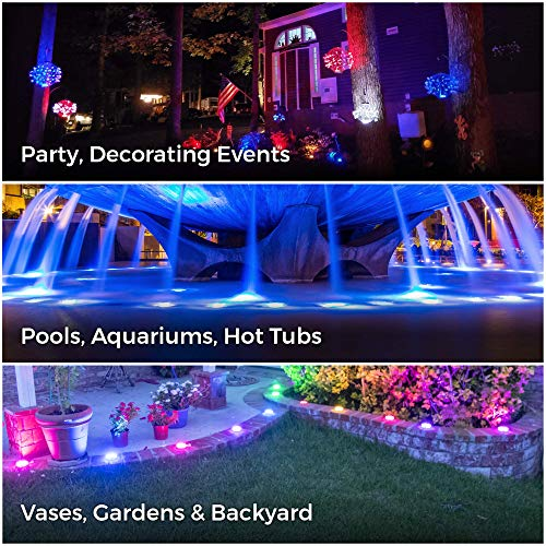 EFX Premium Submersible LED Lights with Remote - 4-Pack Multicolor Waterproof LED Light for Indoors