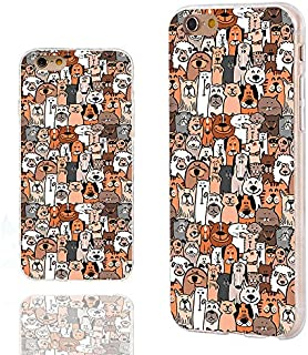 CHICHIC iPhone 6s Plus Case,iPhone 6 Plus Case, 360 Full Protective Shockproof Slim Soft TPU Art Design Cover Cases for iPhone 6 6s Plus,Cartoon Animal pet Cute Brown Dogs and Cats Smile