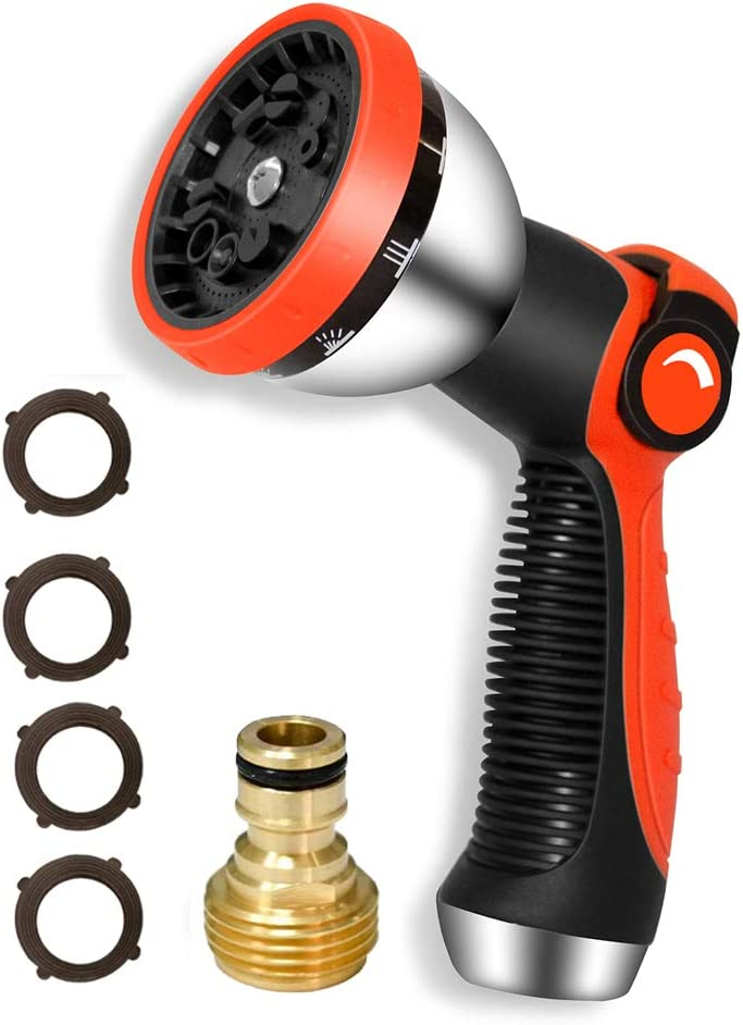 HQMPC Garden Hose Nozzle Metal Hose Spray Nozzle Water Hose Nozzle 10 Patterns Hose Nozzle Spray Nozzle For Hose Watering Car Washing With 1 Pcs Male Quick Connect Nipple and 4Pcs Washer