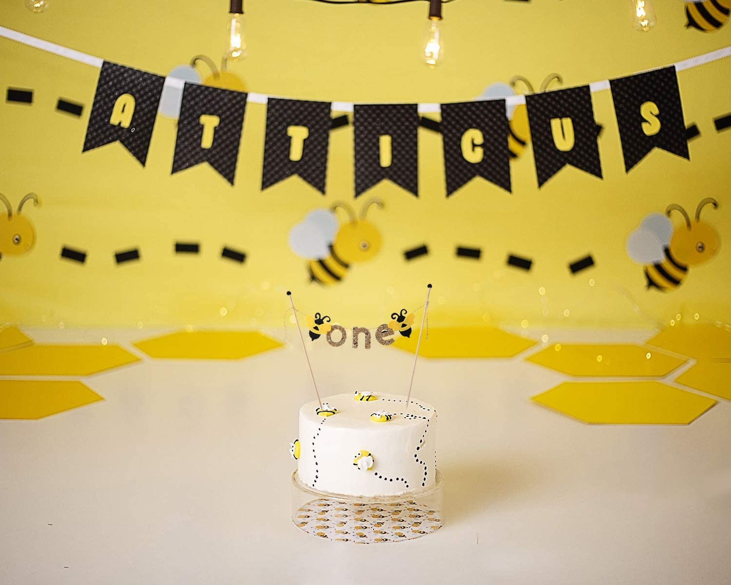 BEE Black and Gold Decorations for Birthday Banner-Best Bee Party Supplies for Baby Highchair Banner for Photo Booth Props Bee Party Decorations for 1st Birthday