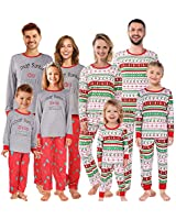 Shangood Christmas Family Matching Pajamas Set Striped Xmas Pjs Clothes,Holiday Tops and Pants Sleepwear for dad,Mom,Kids Kid 3-4