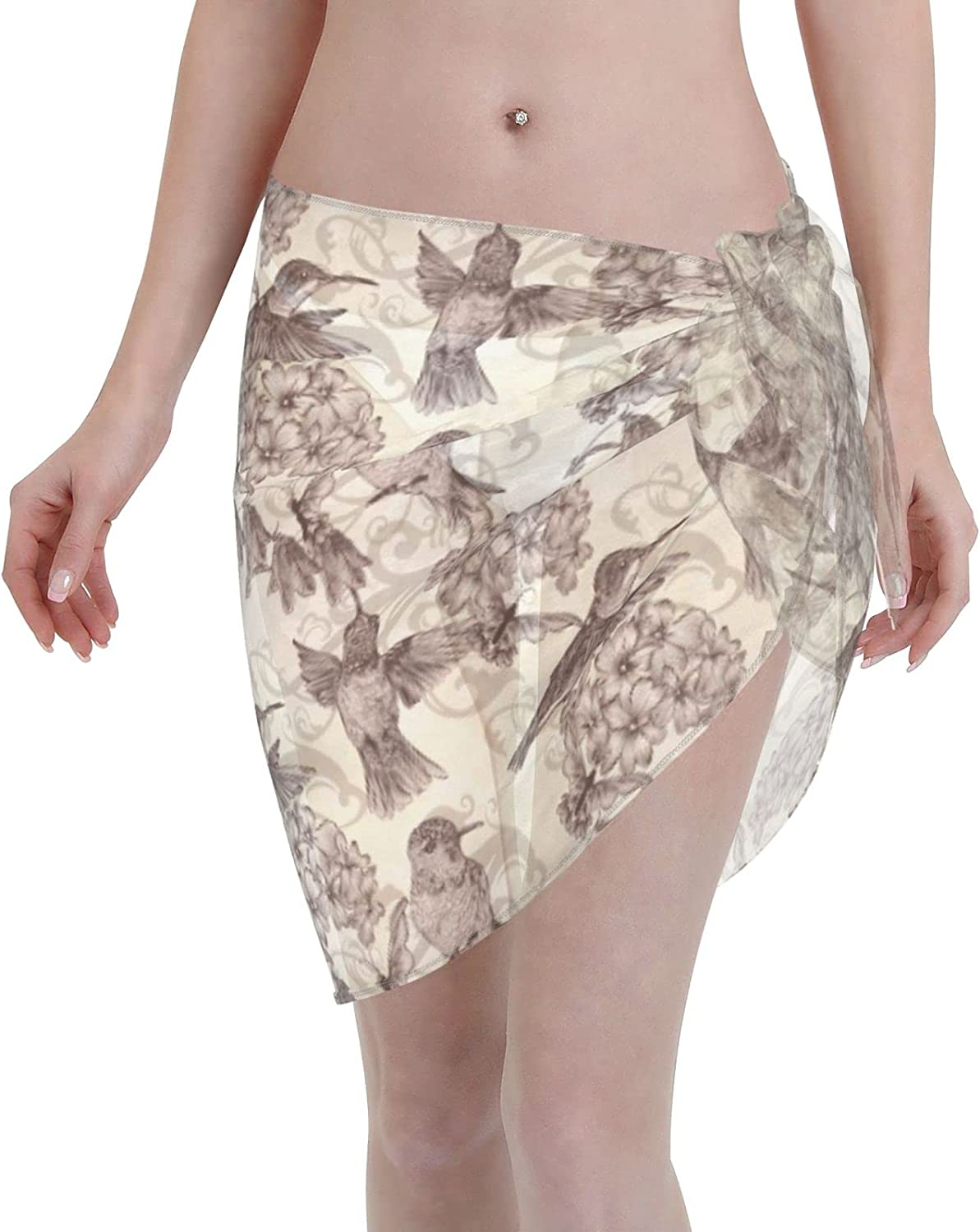 FSERSANHW Birds Flowers Chiffon Beach U Cover Sarong At the Cheap mail order specialty store price of surprise Short Women